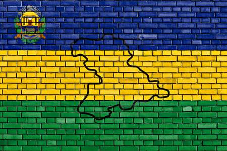 flag of Anzoategui State painted on brick wall