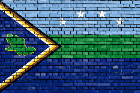 flag of Delta Amacuro State painted on brick wall Stock Photo