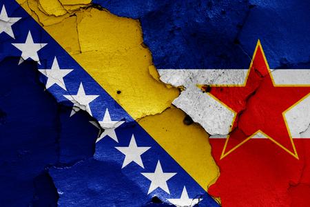 flags of Bosnia & Herzegovina and Yugoslavia