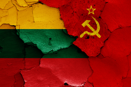 flags of Lithuania and Soviet Union