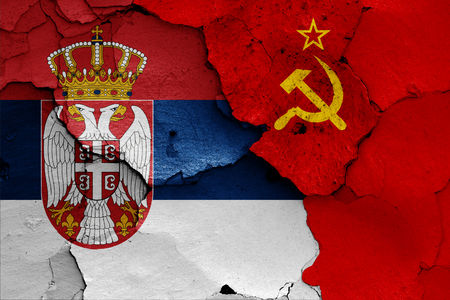 flags of Serbia and Soviet Union 免版税图像 - 103036125