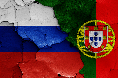 flags of Russia and Portugal