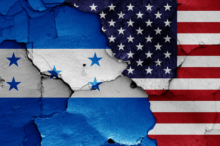 flags of Honduras and USA Stock Photo