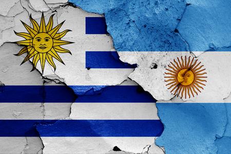 flags of Uruguay and Argentina 版權商用圖片