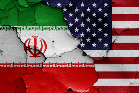 Flags of Iran and USA Stock Photo