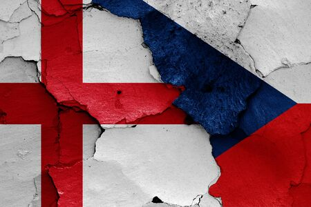 flags of England and Czechia painted on cracked wall Stok Fotoğraf - 131190386
