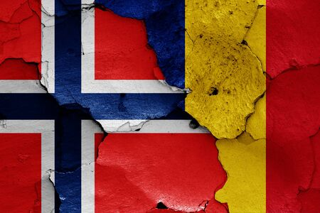 flags of Norway and Romania painted on cracked wall Stok Fotoğraf - 131217367