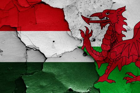 flags of Hungary and Wales painted on cracked wall Stok Fotoğraf - 131217625