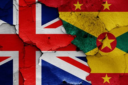 flags of UK and Grenada painted on cracked wall