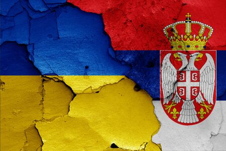 flags of Ukraine and Serbia painted on cracked wall Reklamní fotografie
