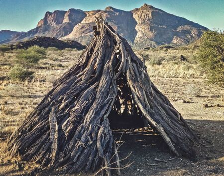 bushmen wooden hut in Namibia 写真素材