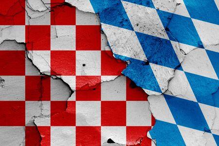 depiction of Croatian checkerboard flag and Bavaria flag Stok Fotoğraf