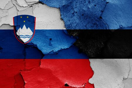 flags of Slovenia and Estonia painted on cracked wall