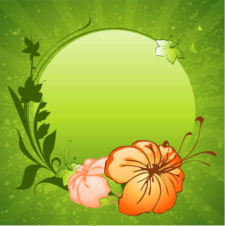 green background with flowers frame Vector