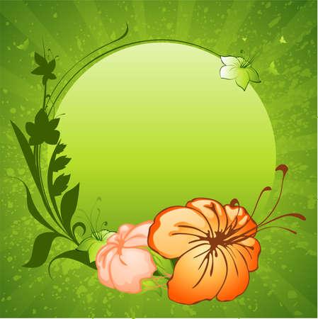 groene achtergrond met bloemen frame