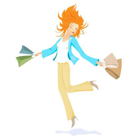 gelukkig meisje vliegen met pakketten