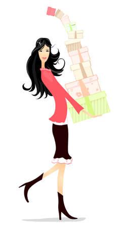 toma corriente: hermosa chica con regalos en las manos
