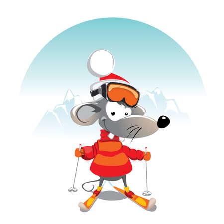 ratte cartoon: Winter Maus auf Ski