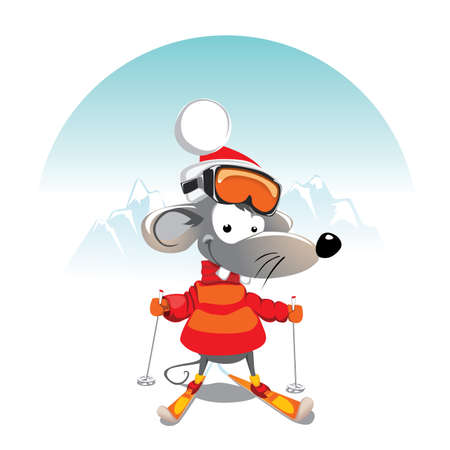 Winter mouse on Ski