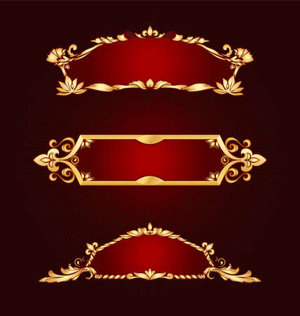 Set of golden frames classical style Vector