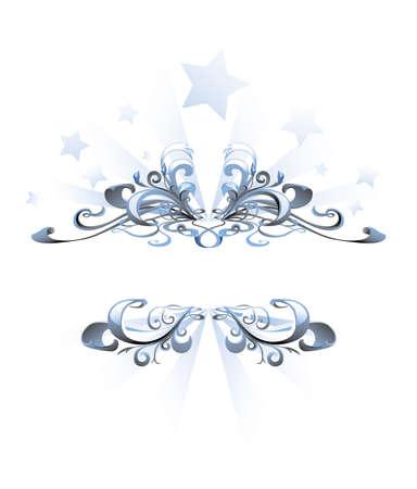Blue abstract frame met sterren op de achtergrond