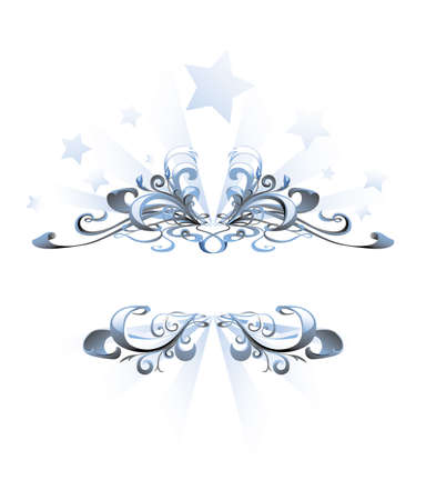 Blue abstract frame with stars on background Ilustracja