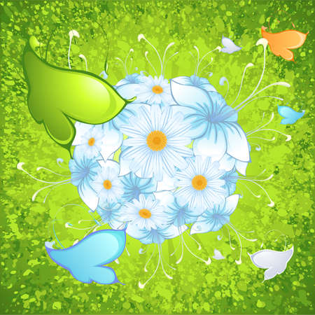 flowers with butterflyes on green background with stains