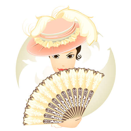 antique fashion: beautiful girl with fan in old style