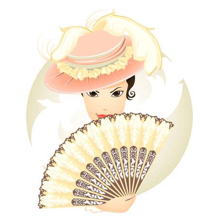 mooie meisje met de ventilator in de oude stijl Stock Illustratie