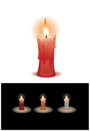 Lighting Candle, 3 color variation  Red, Gold, White