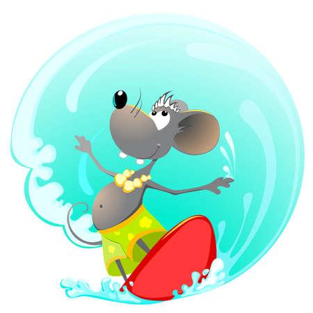 ratte cartoon: Maus auf Surfen Board  Illustration