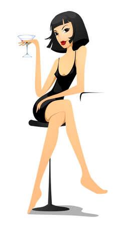 Vamp vrouw met een glas Martini Stock Illustratie