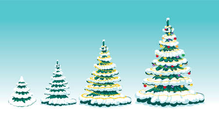 Set of winter fur-tree with ornaments Illustration
