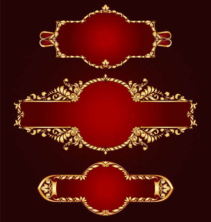 Set of golden frames classical style Ilustracja