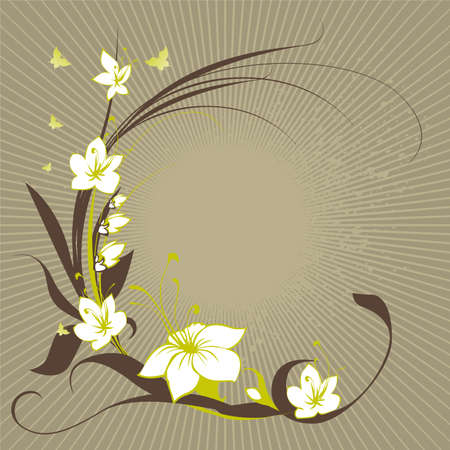 frame from flowers with butterflys Stock Vector - 2762044