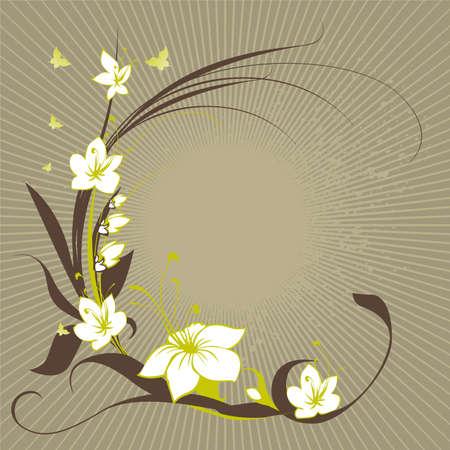 frame uit bloemen met butterflys