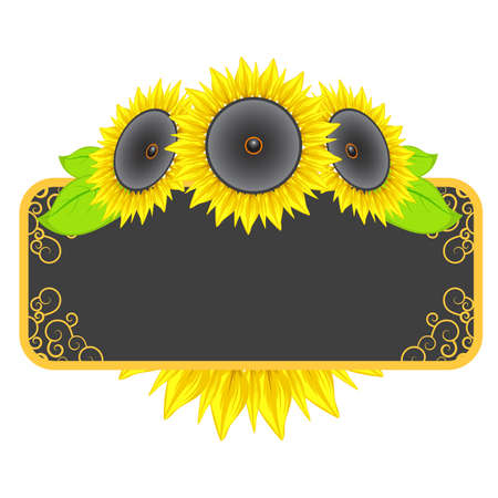 music frame with sunflowers