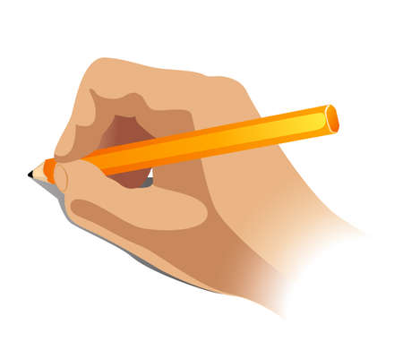 vector illustration of hand with a pencil
