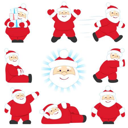 weihnachtsmann lustig: Reihe von verschiedenen Posen Santa Illustration