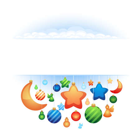 the vector background with christmas ornaments