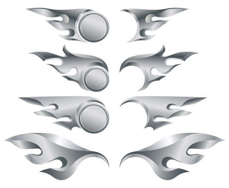 set of vector metal flames for design photo