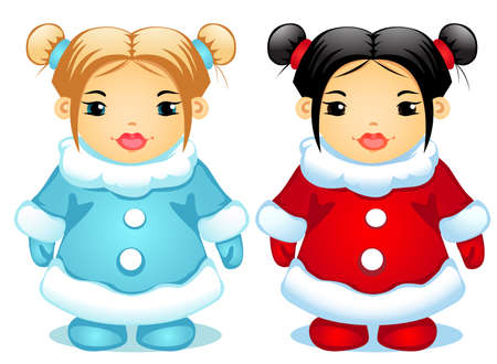 vector illustration of two little girls Illustration