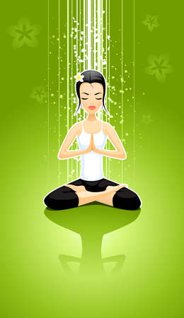 vector illustration of the meditating girl