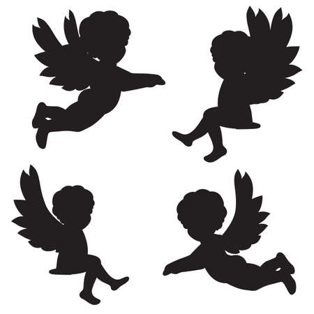 set of vector silhouettes of angels