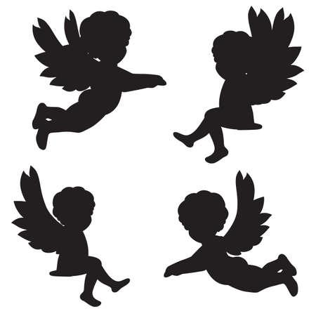 set van vector silhouetten van engelen