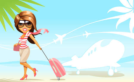 travel cartoon: vector background with travel girl Illustration