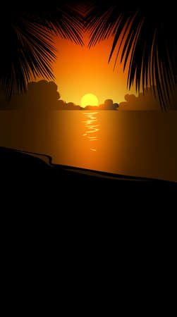 beach sunset: Evening beach with palm leafs Illustration