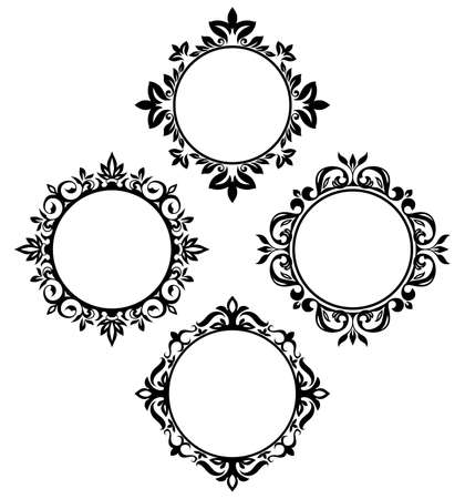 set van vintage cirkel frames Stock Illustratie