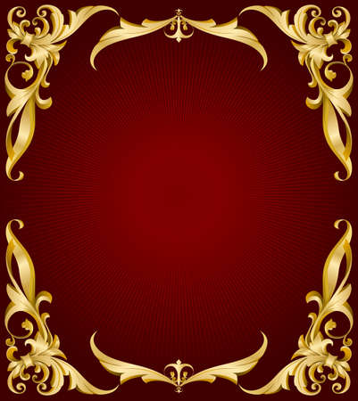 golden frame on red back with lights  Vector
