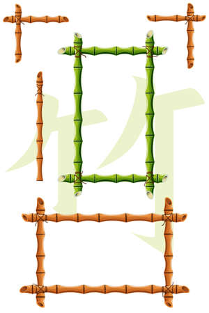 hieroglyph: set of vector bamboo design elements